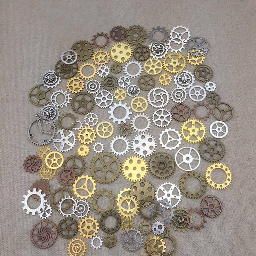 Sweet pattern Mixed 100PCS Assorted gear Charms Pendants gear Metal Alloy Pandent Color Antique Bronze Diy