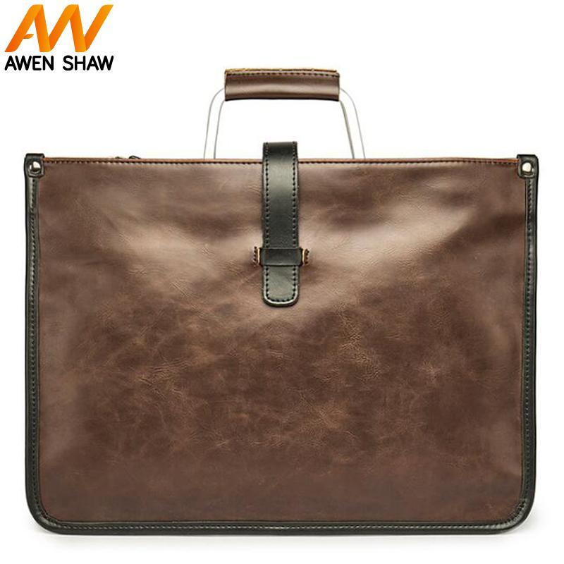 3e2e909c79 Acquista Awen Shaw Vintage Uomo PU Cartella In Pelle Di Grande Capacità  Impermeabile Business Laptop Bag Borsa A Tracolla Borsa Da Viaggio Di Moda  A $29.07 ...