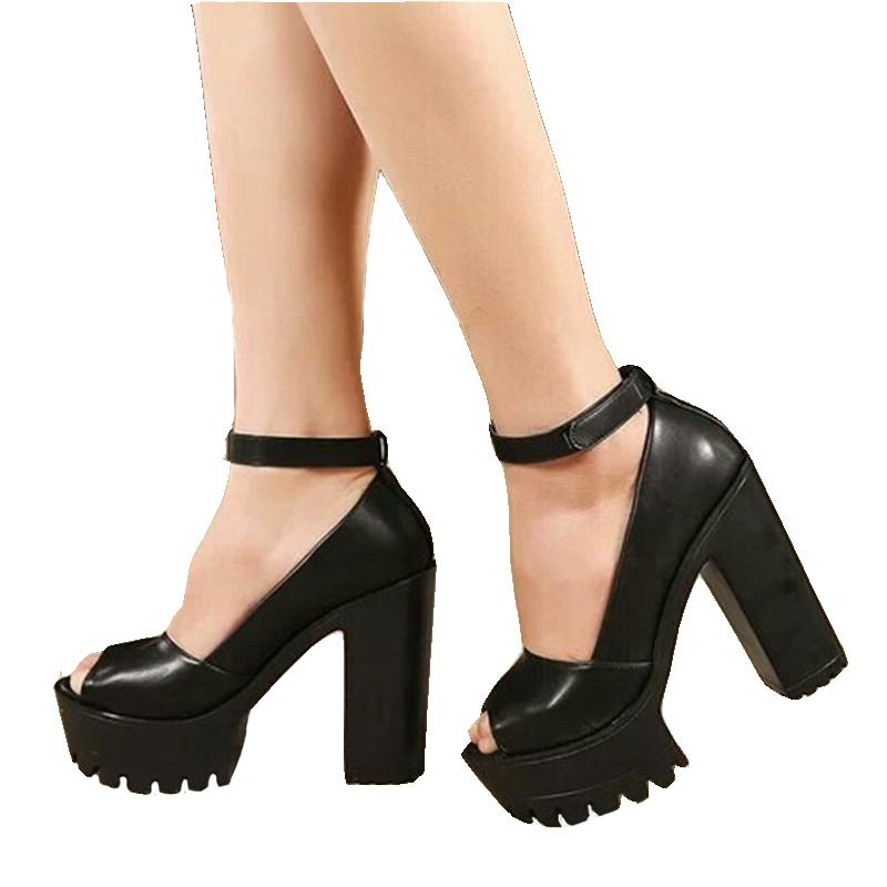 0ef35b73774b Dress Shoes Summer Style Sexy Open Toe High Heel Sandals Thick Heel Sandals  Hasp Fashion Platform Women High Cheap Heels Comfort Shoes From Deal000