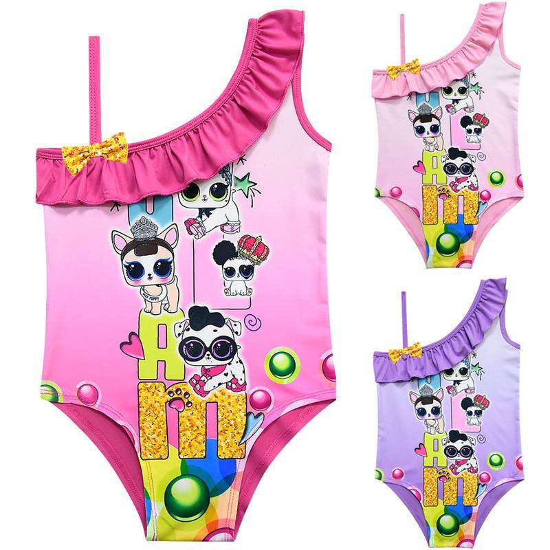 2fcf0578 Dibujos animados Sorpresa niñas traje de baño Niñas bebés traje de baño de  verano con volantes traje de baño diseñador de niños de una pieza ...