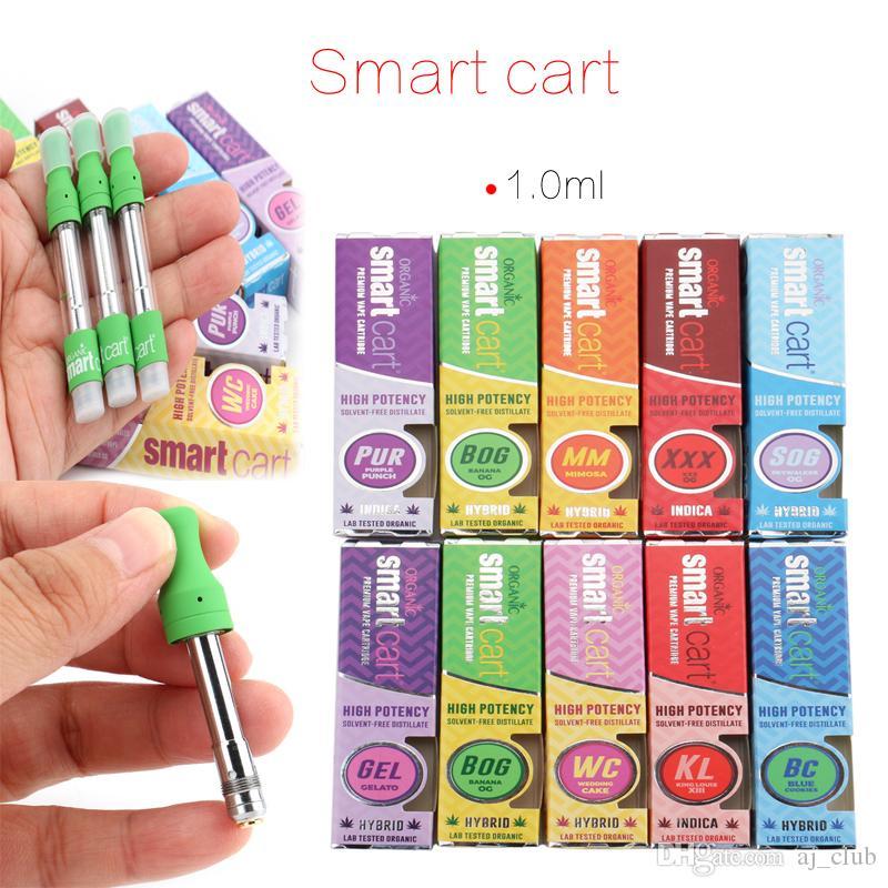 Smart Cart Vape Cartridges Packaging 1ml Glass Tank Thick Oil Cartridge 510  Thread Ceramic Coil Green Vaporizer Cartridge with Retail Boxes