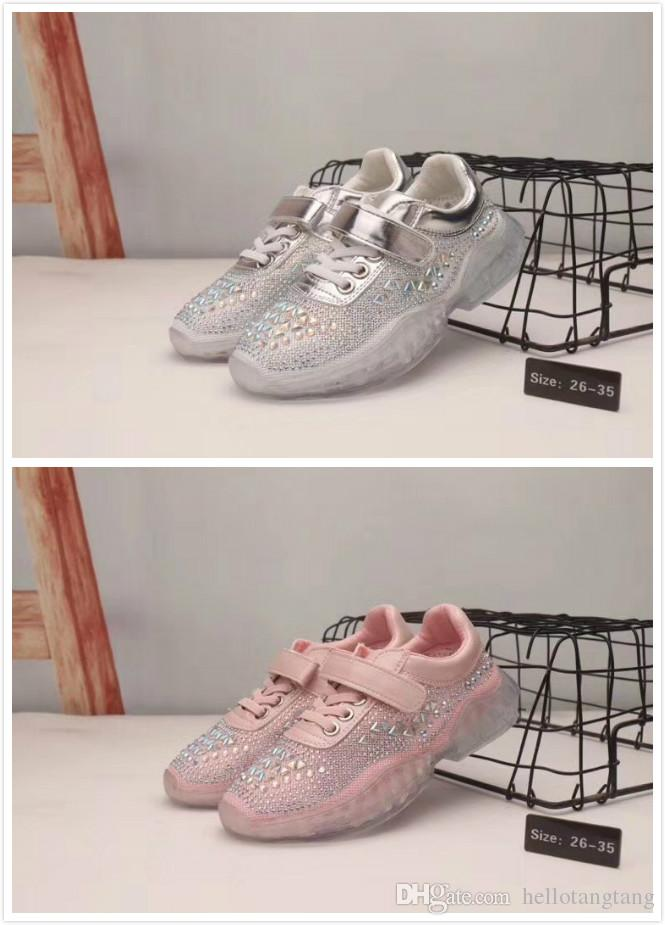 bfc220277d2 high quality Fashion Children Sport Shoes Boys Girls Sneakers rhinestones  Non-slip Kids Running Shoes kids designer sandals 26-35