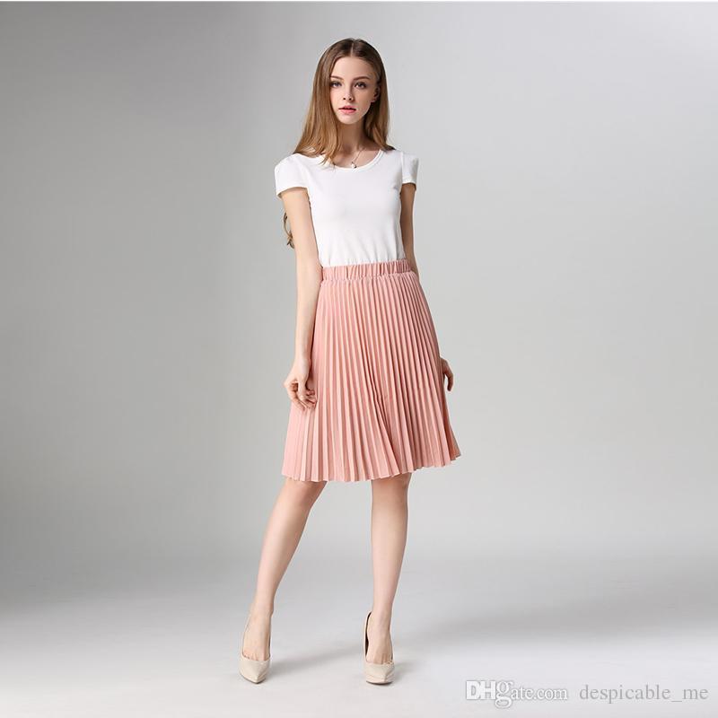 95137a4ec8 2019 2019 Women Pleated Skirt Vintage High Waist Tutu Skirts Womens Saia  Midi Rokken Summer Style Jupe Femme Skirt From Despicable_me, $16.09 |  DHgate.Com