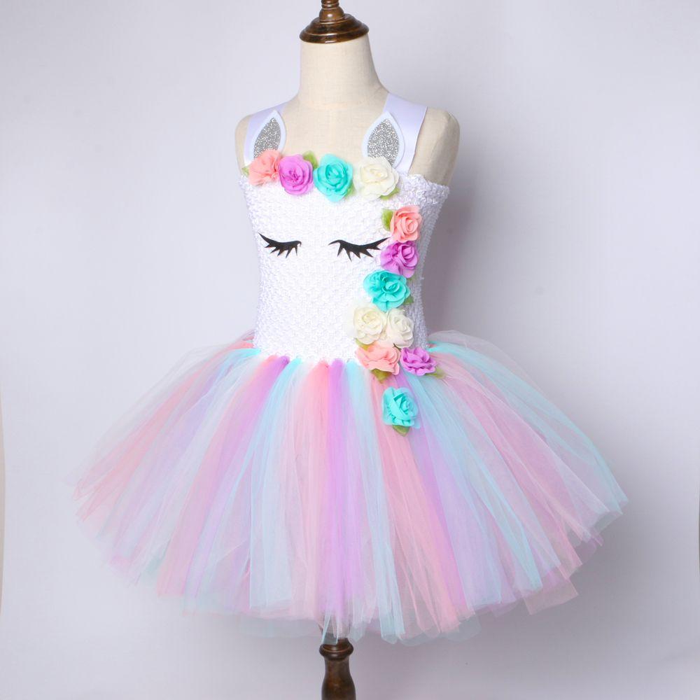 5f4c0b6c7 Compre Chicas De Flores Unicornio Tutu Vestido Pastel Rainbow Princess  Girls Fiesta De Cumpleaños Vestido Niños Niños Halloween Unicornio Traje 1  14Y A ...