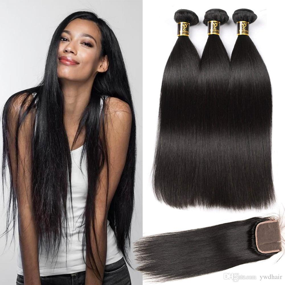Fashion week Straight Brazilian hair with closure for lady