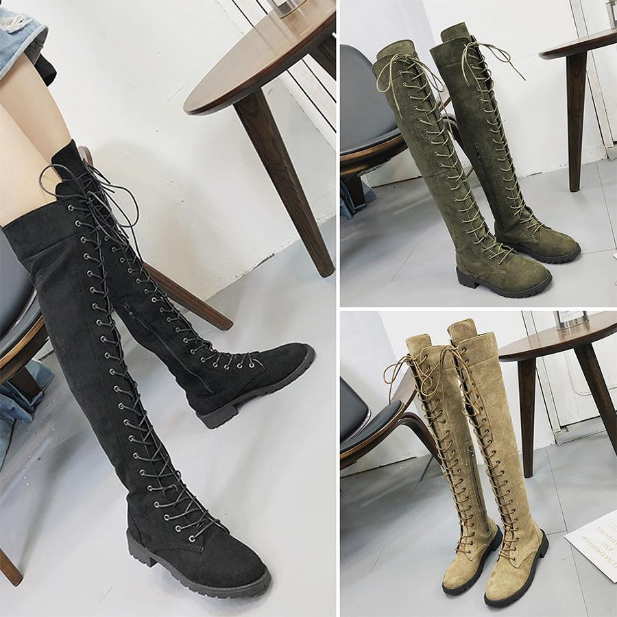 Plus Big Size Buckle Women Boots Black Over the Knee Boots Platform Sexy Female Autumn Winter lady Shoes Woman Boats