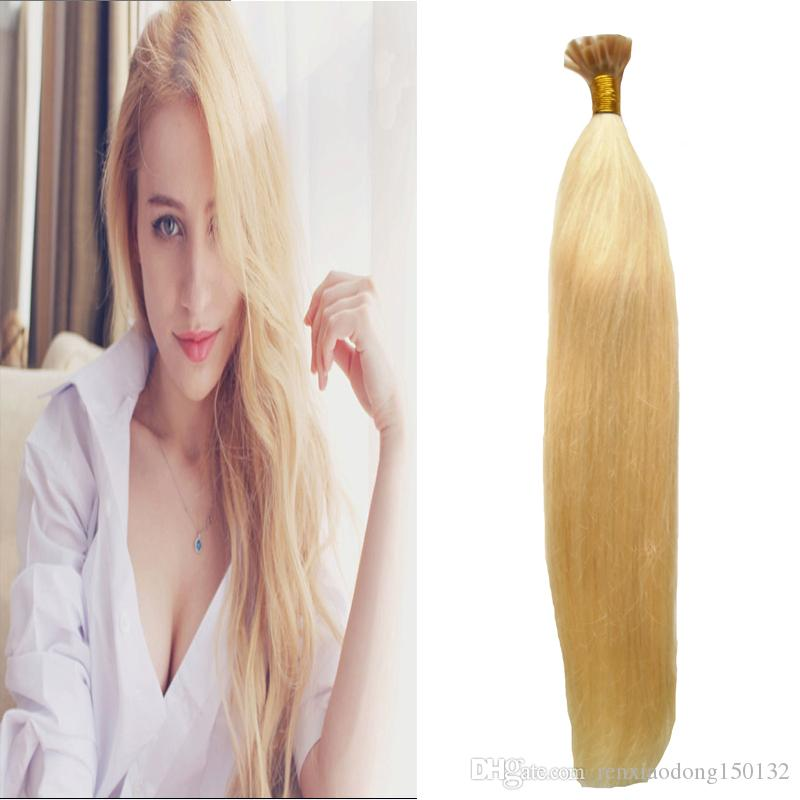 Blond Brazilian Human hair Extensions 100g Straight Keratin Human Fusion Hair Nail U Tip Machine Made Remy Pre Bonded human hair bundles