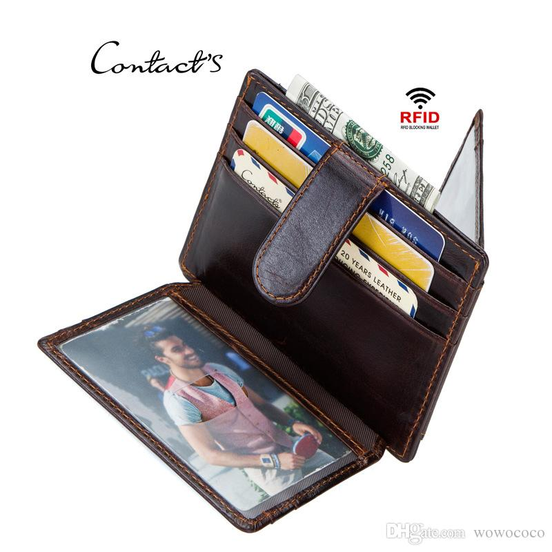 a6d9b5ed3 CONTACTS RFID Genuine Men Card Wallets Cow Leather Multifunctional Short Wallet  Card Holder Coin Organizer Bag Photo Window Coffee X456 Wallets Uk Bags  Mens ...