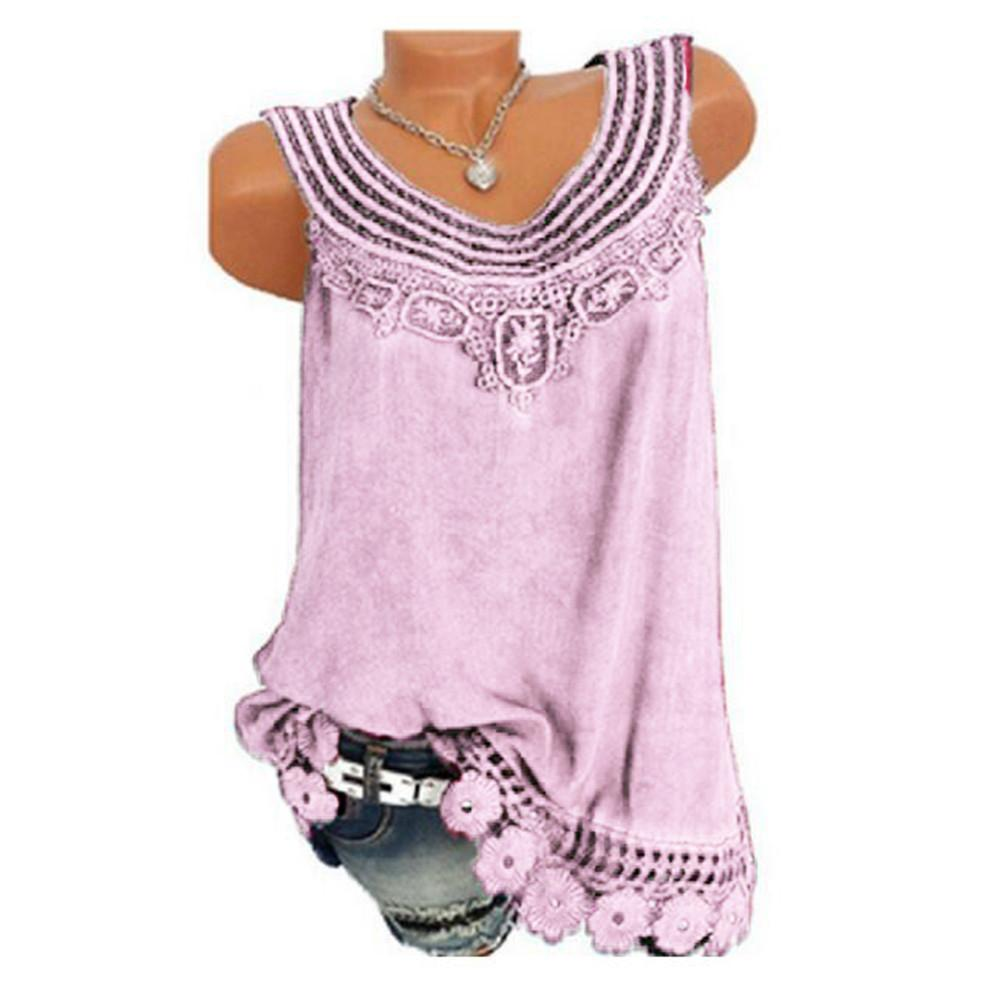 Women Sleeveless Pure color Lace Vest Plus Size Tops Loose T-Shirt tee shirt femme Tee Shirt Tops Femme Tops For Women