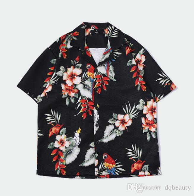 2019 Tide Brand Summer New Men Fashion Fashion Parrot Black Oil Painting Men Casual Short-sleeved Shirt