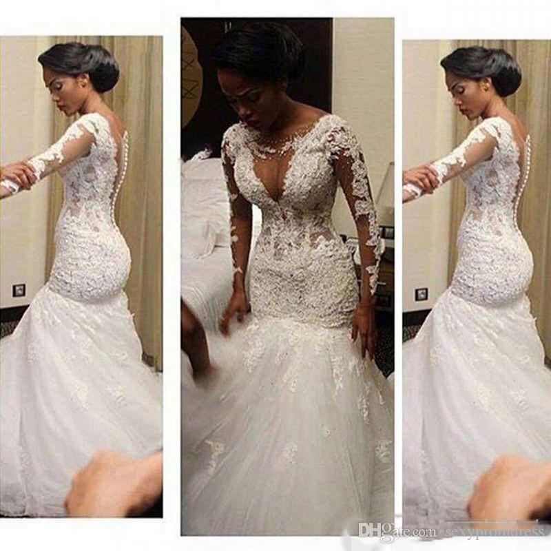 Lace Fishtail Wedding Dresses Sheer Neck Long Sleeves Mermaid Bridal Gowns Back Covered Buttons Vintage Wedding Dress Sweep Train Cheap