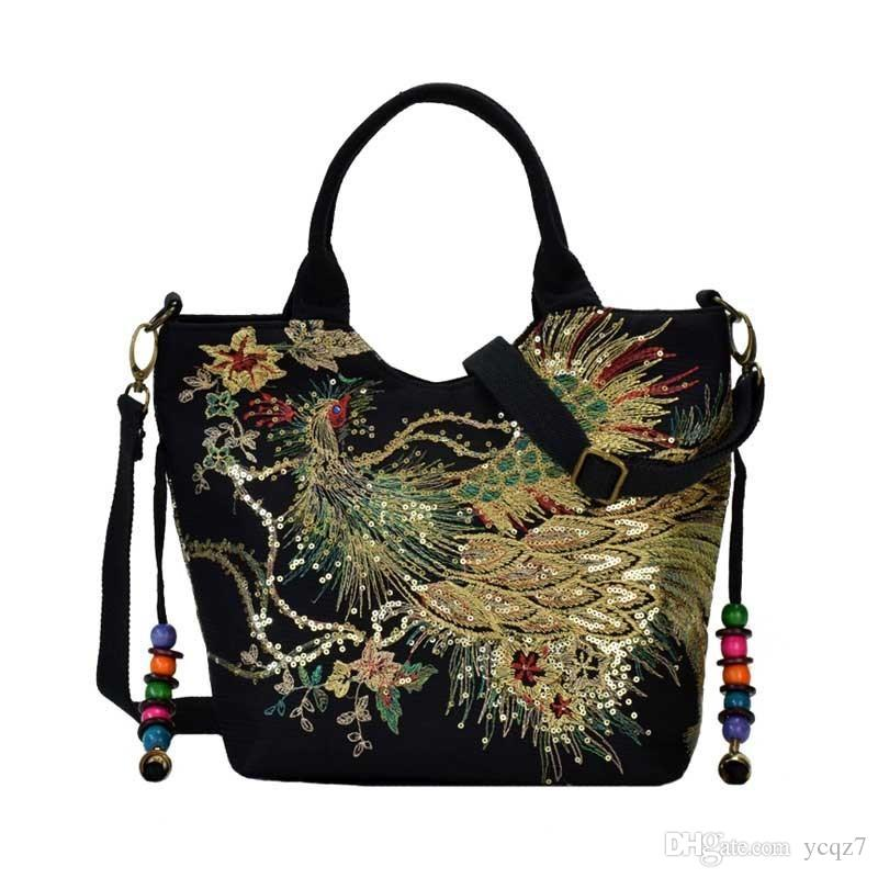 Women Vintage Shoulder Bags Peacock Embroidery Female Handbag Lady Messenger Bag Sequins Top-handle Tote Crossbody Ss7037