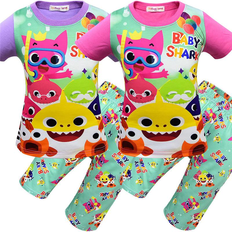 6d41331a Summer Baby Shark Cartoon Pajama Set 100-140cm Children Nightclothes Short  Sleeve T shirt + Shorts Two-piece Homewear Kids Sleepwear A41904