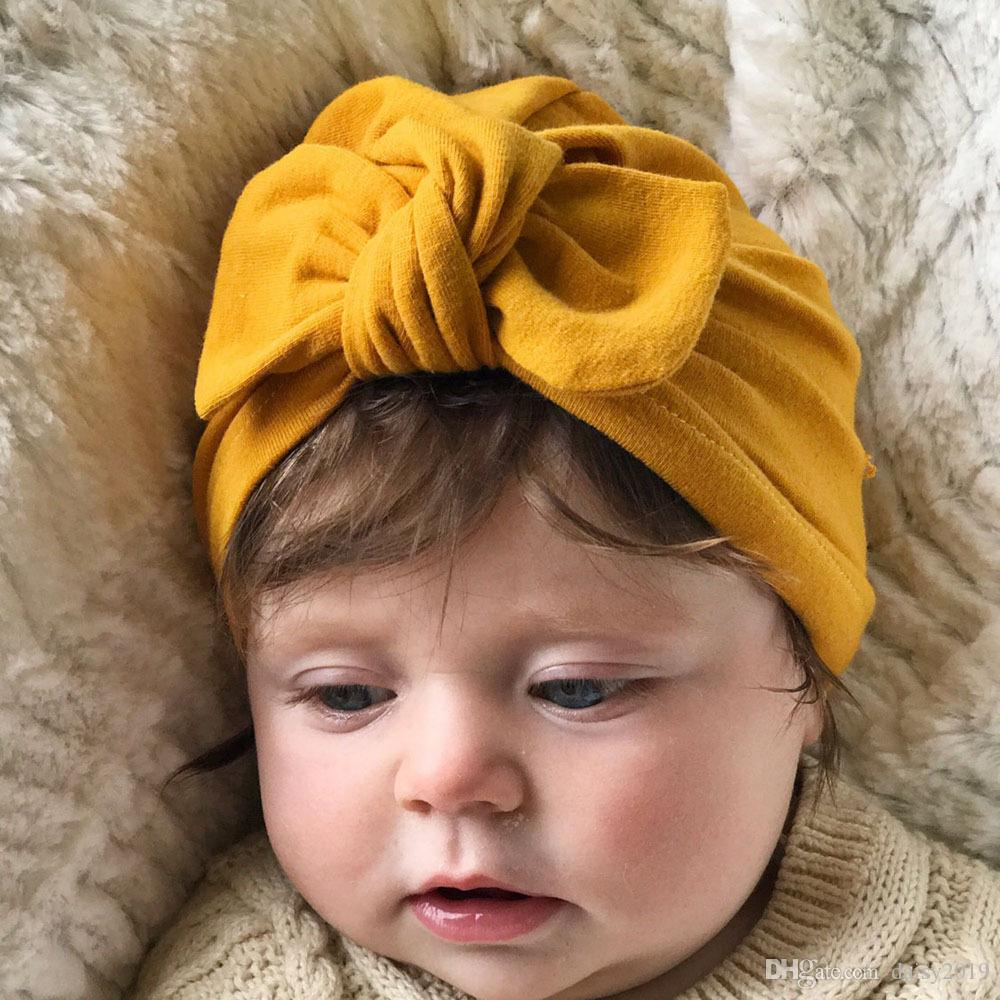 4a9562766655 2019 Newborn Girls Boys Rabbit Ears Bowknot Cotton Baby Hat Sleep ...