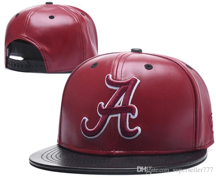 9aea2a8b63f2b New Caps 2019 College Football Snapback Hats Leather Cap Red Color Alabama  Team Hats Mix Match Order All Caps Top Quality Hat Wholesale 00 Headwear  Flat ...