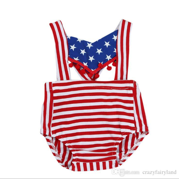 db0ead9a8 2019 4th Of July Outfit Toddler Infant Baby Girl Boy 4th Of July Bodysuit American  Flag Sleeveless Backless Tassel Romper Jumpsuit Clothes From ...