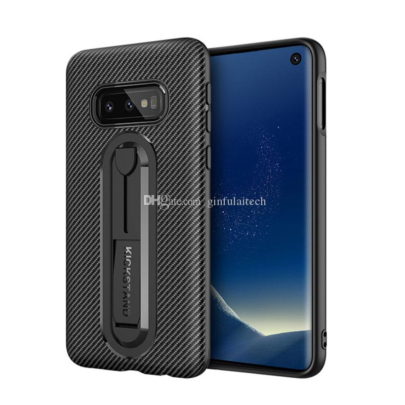 Carbon Fiber Cell phone Cases For Samsung S9 plus samsung S10 plus TPU Phone Case Back Cover Hidden Kickstand TPU Mobile phone Cases