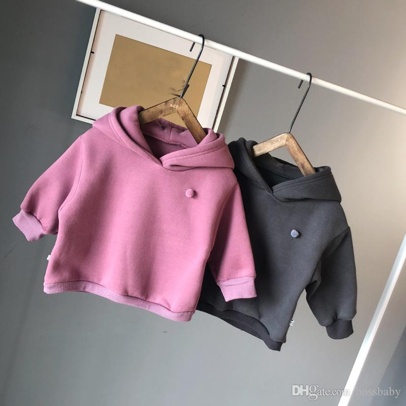 Baby Sweatshirts Girls Grab Cashmere Garments Children Hat Rabbit Sanitary Clothes Girl Cartoon Hoodies 95% Cotton 58
