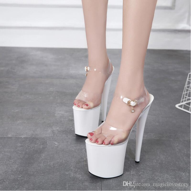 Bout Pvc À Talons Hauts Cm Femme Stage Habillées D Boucle Sexy Été Cheville Ouvert Femmes Blanc Sangle Chaussures Sandales 20 Plate Forme K3cT1JlF