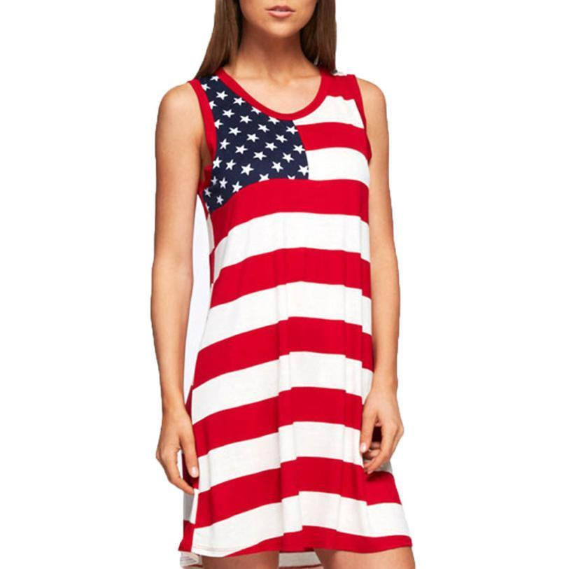 ca5c107de53d1 Summer Dress Elegant Red Mini Dress 2018 Fashion A Line Sleeveless Striped  Tank American Flag Printed Dress Vestido Evening Dresses Plus Size Teen  Party ...