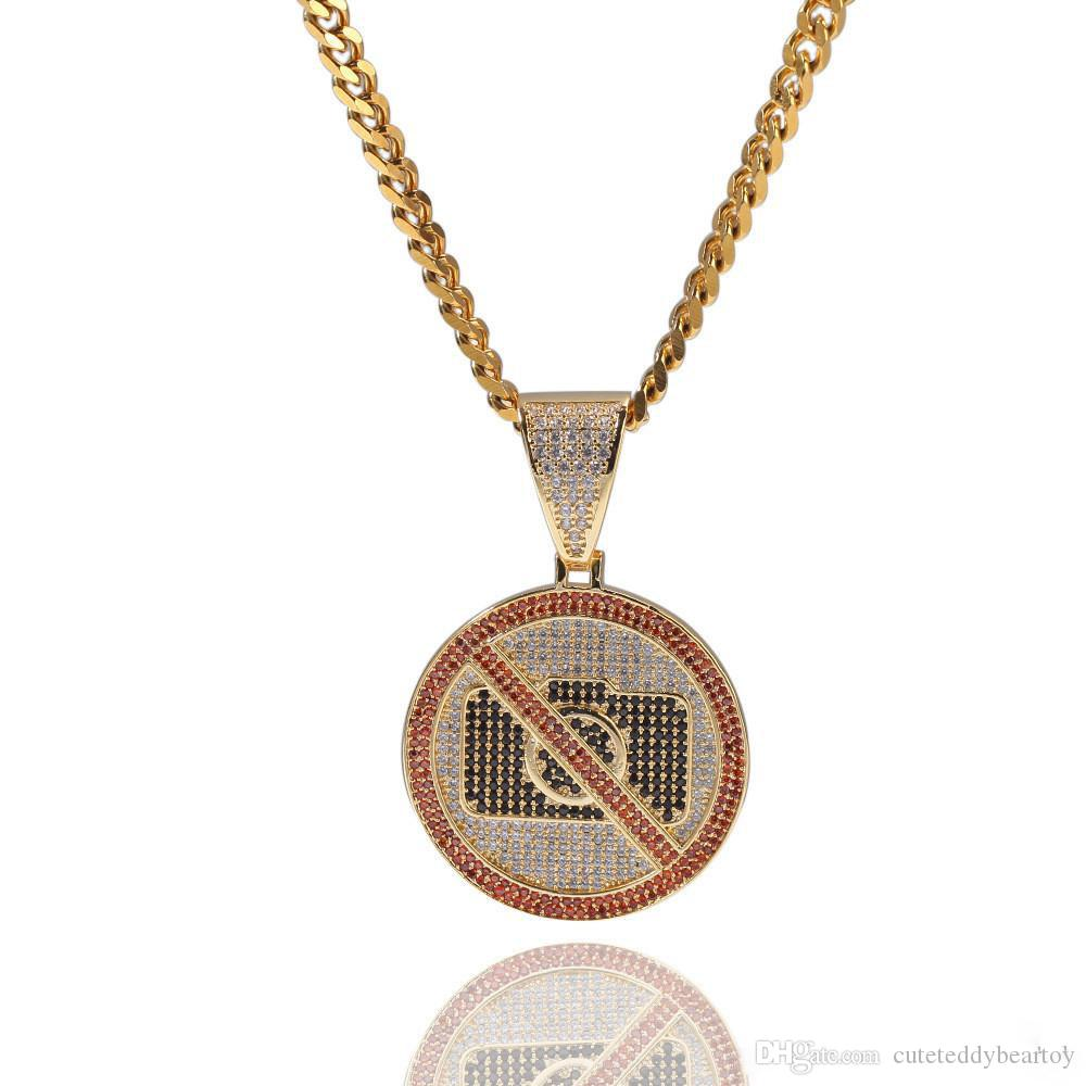 No Photography Hip-hop Pendant Necklace Interesting Personality CZ Stone Bling Iced Out Pendants Necklace for Men Rapper Jewelry