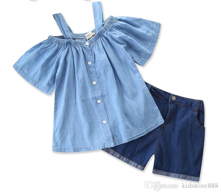 2019 summer new children's clothing baby Girls Sling Short Sleeve Shirt + Denim Shorts Set kids clothes tops pants suit