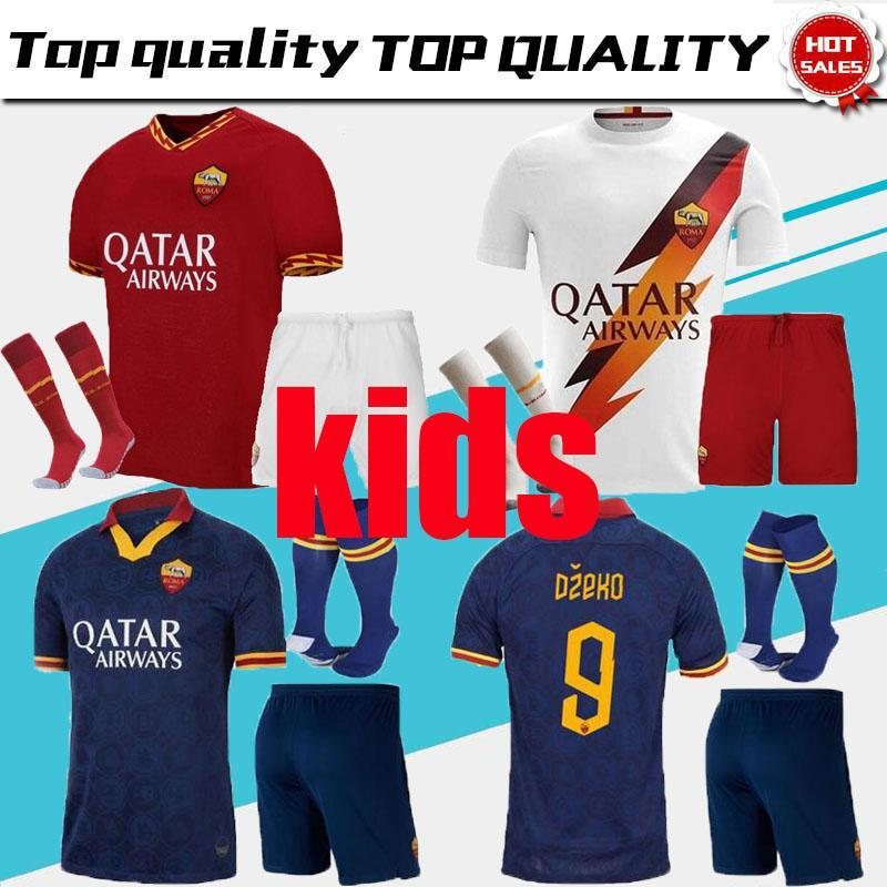RomA kids kit soccer Jersey 19 20 Home away third White Blue 9 DZEKO 11 KOLAROV 20 FAZIO 8 PEROTTI boy set 2019 2020 Football shirt child
