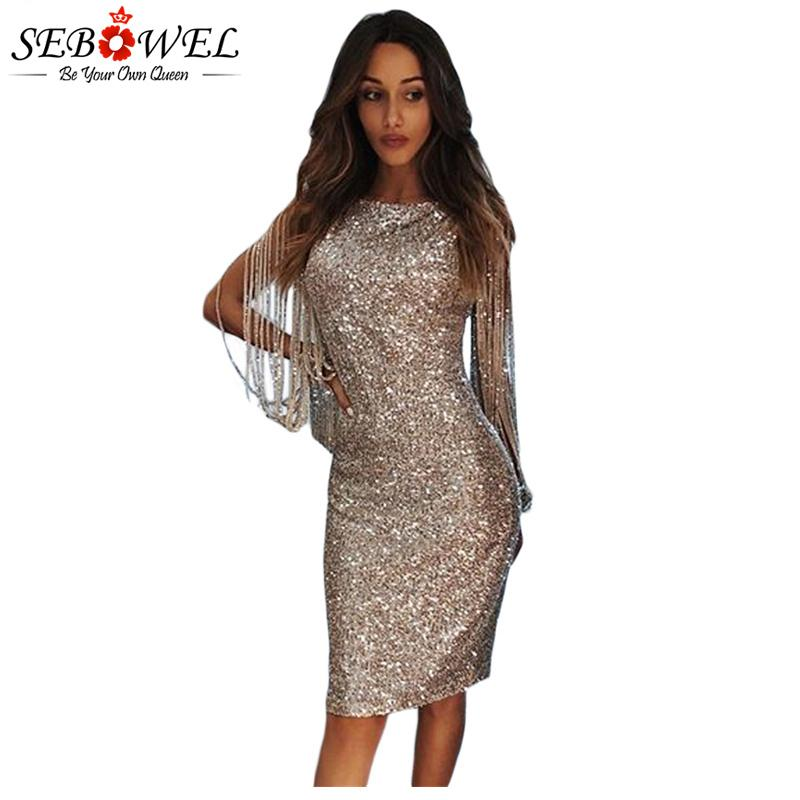 SEBOWEL Sexy Sequin Party Dress Women Bodycon Gold Silver Glitter Club Dress  Female Tassel Sequin Lady Shine Evening Gown Dresses Cheap Dresses SEBOWEL  Sexy ... c39653f5d6f9