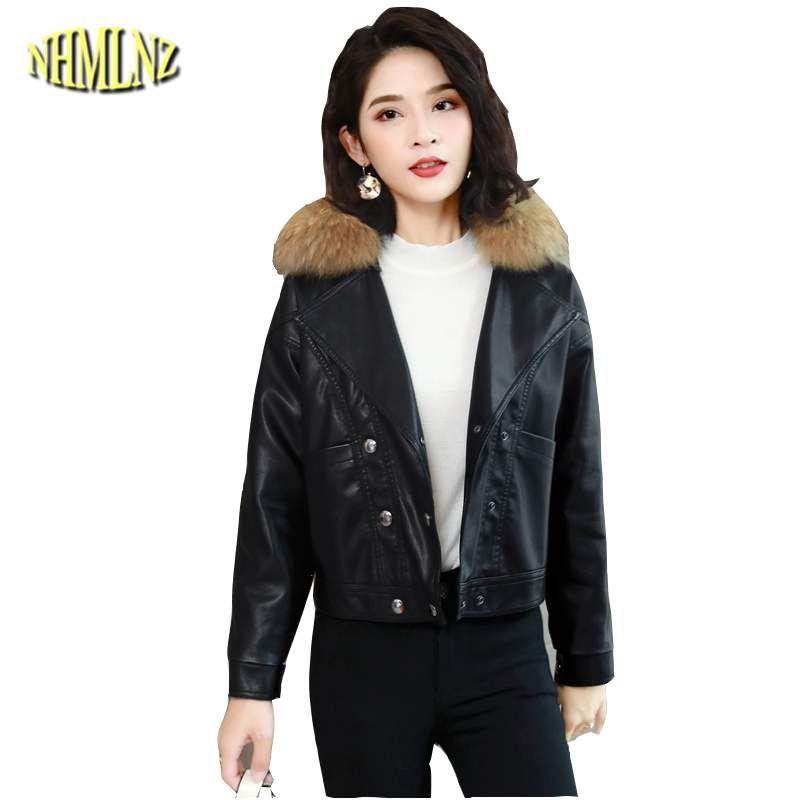 c995b3154 2018 Fashion Autumn Winter Short Women Faux Leather Jacket Slim Fur Collar  Females Coat Thicker Warm Outerwear Korean LY474