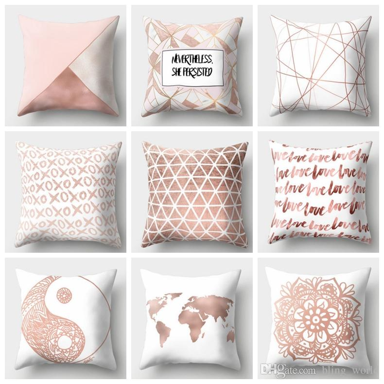 Geometric Pillow Covers Nordic Style Cushions Covers Rose Gold Cushion  Covers Pink Bedroom Sofa Home Decor 39 Designs 10pcs YW1535