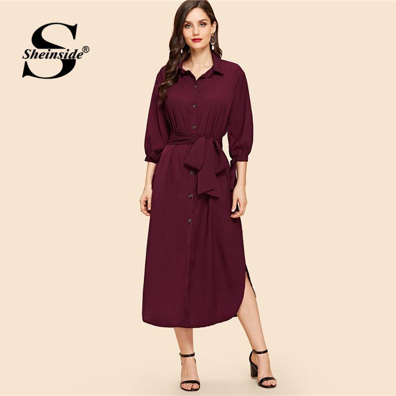 eea7b67c0a Sheinside Elegant Burgundy Belted Shirt Dress Women 2019 Spring Casual Half Sleeve  Lace Up Maxi Dresses Solid Straight Dress Black Evening Dresses Dinner ...