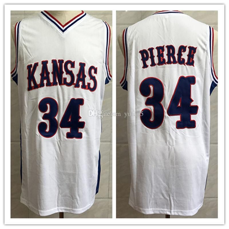 low priced 7802c 9959b #34 Paul Pierce Kansas Jayhawks KU College White Blue Retro Basketball  Jersey Mens Stitched Custom Number and name Jerseys