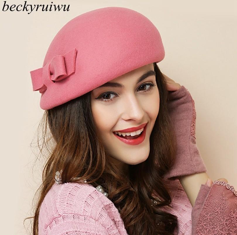 b106ef46e69a Acheter Beckyruiwu 2019 Fashion New Chic Chapeaux Béret Bowknot Femmes  Automne Et Hiver 100% Laine Chapeau De $20.98 Du Byuild   DHgate.Com