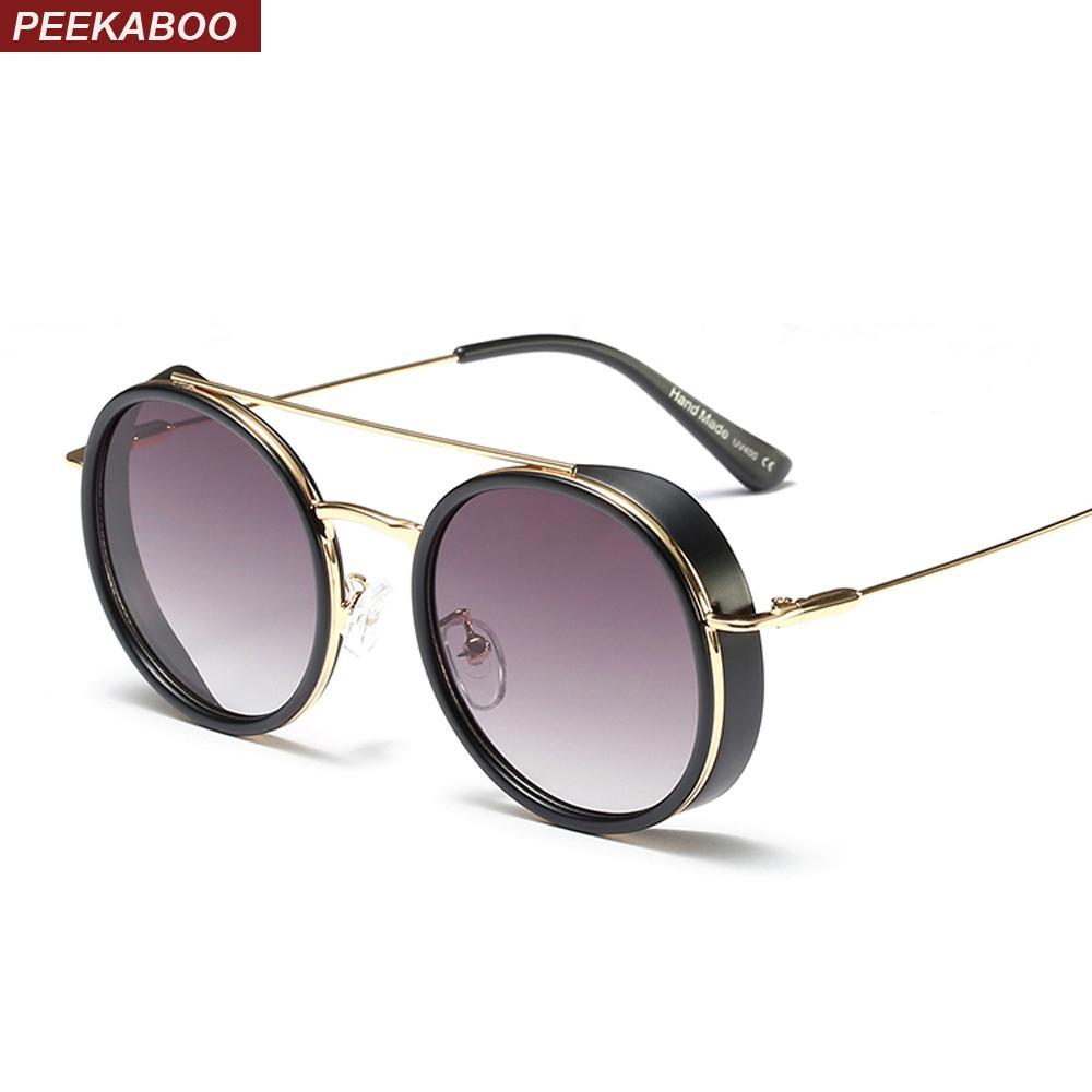 5a6ead1d86 Peekaboo Mens Shield Sunglasses Women Round Vintage 2019 Summer Trendy Sun  Glasses For Men Metal Frame Uv400 Unisex Sunglasses For Men Prescription  Glasses ...
