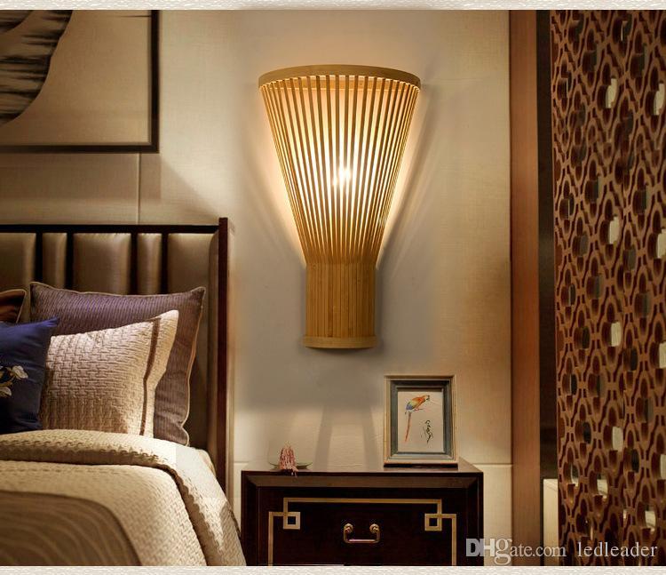Kreative handgewebte Bambus Wandlampe Schlafzimmer Nacht Wohnzimmer moderne  minimalistische Bambus Kunst Wandleuchte M49
