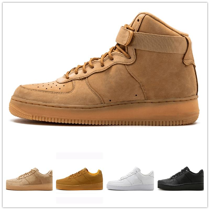 Casual shoes White One 1 Dunk Men Women Casual Shoes Sports Skateboarding Ones Running High Low Cut Wheat Brown Trainers Sneakers 36-45 kj17