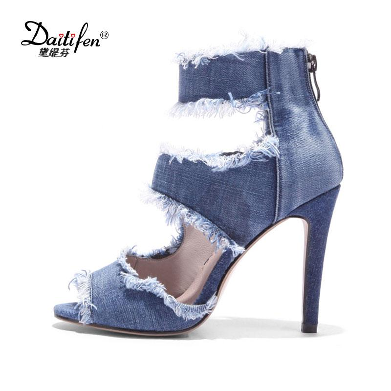 f25a5d87ad5 Wholesale Fashion Denim Ankle Strap Sandals Heels Open Toe Summer Shoes  Woman High Heels Gladiator Sandals Big Size 43 Silver Wedges Brown Wedges  From ...