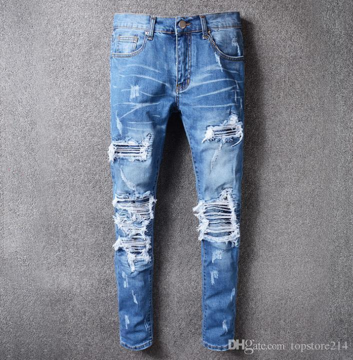 Hombre Ropa Vaqueros Hombres Rotos Pitillo Jeans Originales Skinny Denim Pantalon Ajustados Jeans Pantalones De Mezclilla Slim Hole Para Hombre Moda Casual Vaqueros Vaqueros Hombre