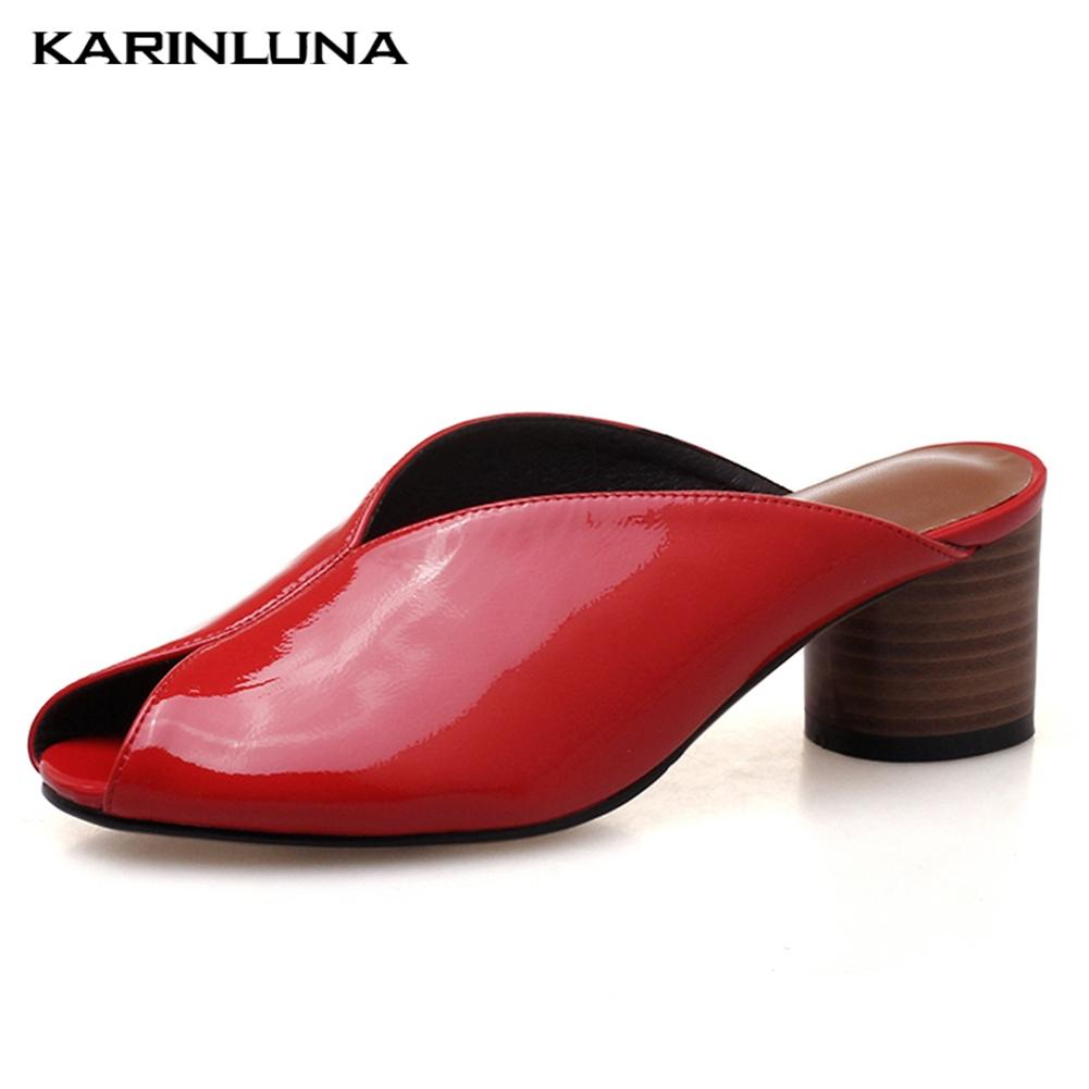 567d9c3261686 2019 Mode elegante Echtleder Peep Toe Chunky Heels Sommer Schuhe  Pantoletten Frau Pumps Frau Schuhe