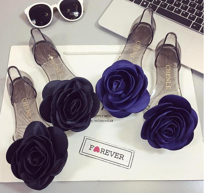 27362fb5e1f9c New Summer Sandals Female Rose Flowers Transparent Crystal Bottom Jelly  Shoes Female Fish Mouth Shoes Flat Sand Beach Cool Slippers Womens Sandals  Sandals ...