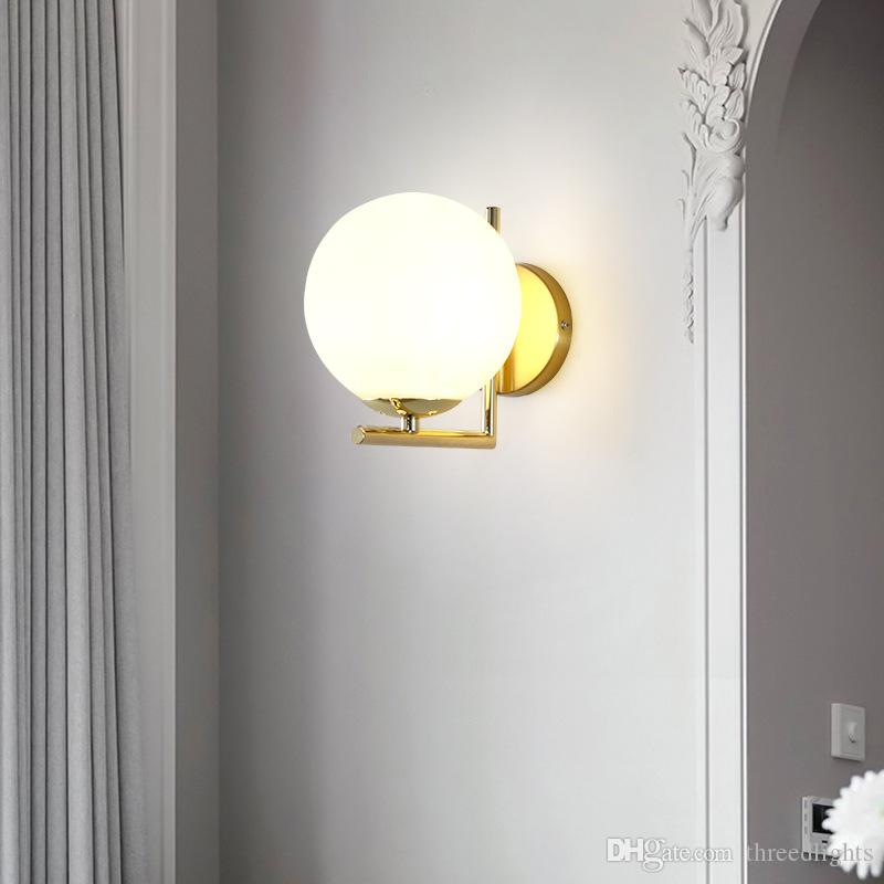 Modern style E27 LED wall lamps Nordic glass ball wall lights for passage corridor Bedroom bedside lamp Wall Sconces AC85-265V