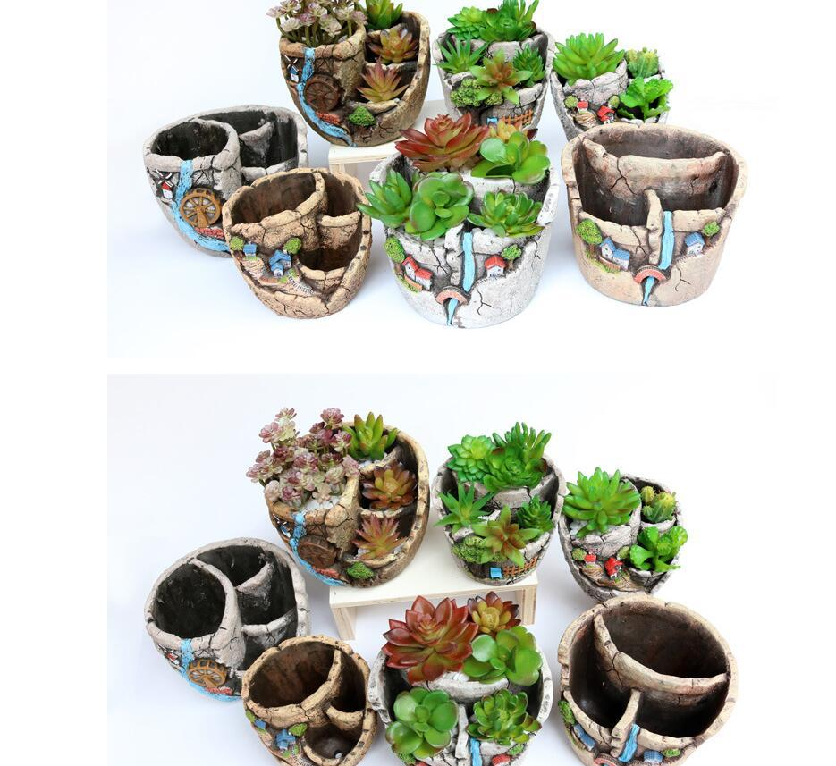 Creative Succulent Plant Pot Fleshy Flower Pot Mini Landscap Decorative Plant Container Garden Planter Flower Pot LJJK1639