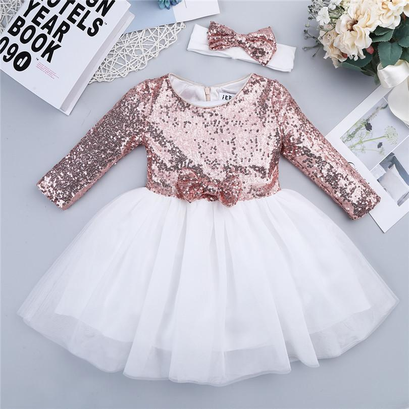 Toddler Girls Flower Sequins Princess Dress Summer Birthday Party Tutu Tulle Formal Dresses Children Kids Bridesmaid Clothes Y19061701