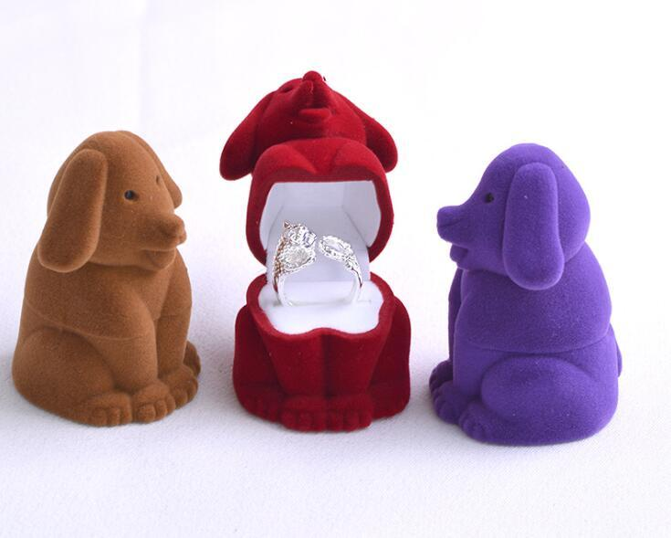 50pcs/lot Creative Cartoon Dog Shape Jewelry Box Velvet Engagement Ring Storage Case Gift Box Jewelry Packaging Display Rack