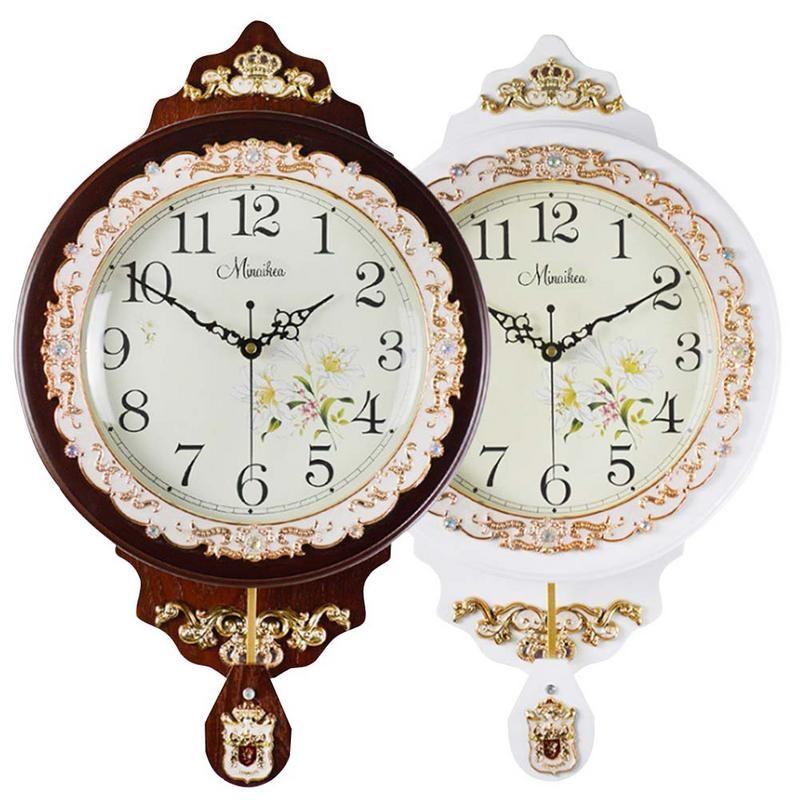 Antique Swing Quartz Wall Clock Large Living Room Silent Innovative Quartz  Clock Fashionable Living Room Decorative Pastoral Wall Clocks