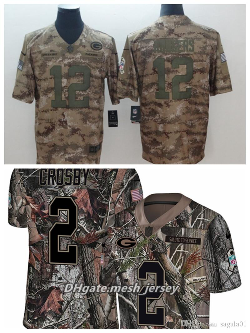 2019 Men Green Bay Packers Football Jersey 12 Aaron Rodgers 12 Crosby Camo  Salute To Service Limited Stitching Jersey From Good jersey8866 f96f6ce90
