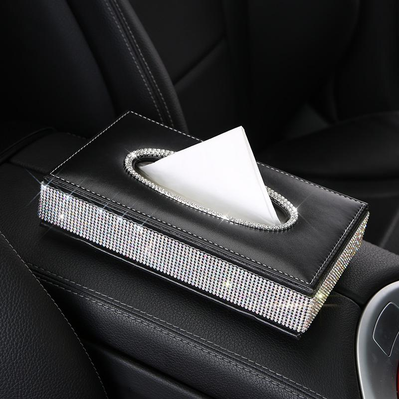 Crystal Diamond Leather Car Tissue Box Holder Rhinestone Auto Armrest Box Block Type Paper Towel Case Covers Car Organizers