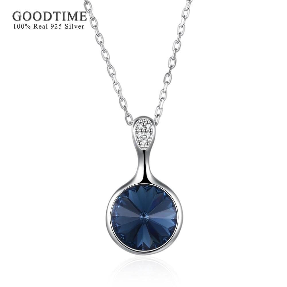 487cfde50 Wholesale Necklace Silver 925 Jewelry Classic Blue Crystal Round Pendant  Necklaces 925 Sterling Silver Jewelry Fashion Necklaces For Women Pendant  For ...