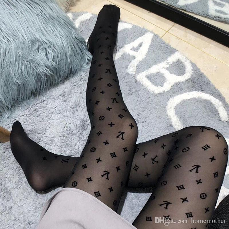 Night Club Party Women Stockings Personality Flocking Pattern Sexy Tights for Girl Fashion Black Female Stockings