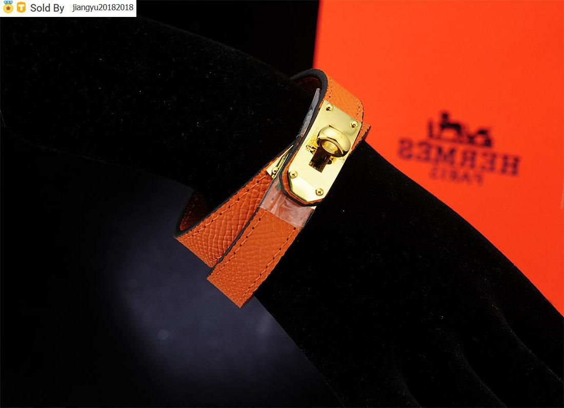 Christmas Gift High Quality Buckle bracelet Real Leather Leather Clover Cuff Bracelets Jewelry Orange With Box